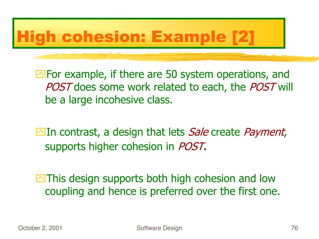 High cohesion: Example [2]