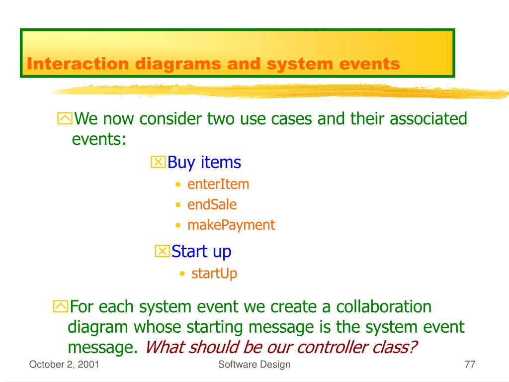 Interaction diagrams and system events