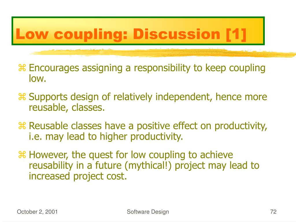 Low coupling: Discussion [1]