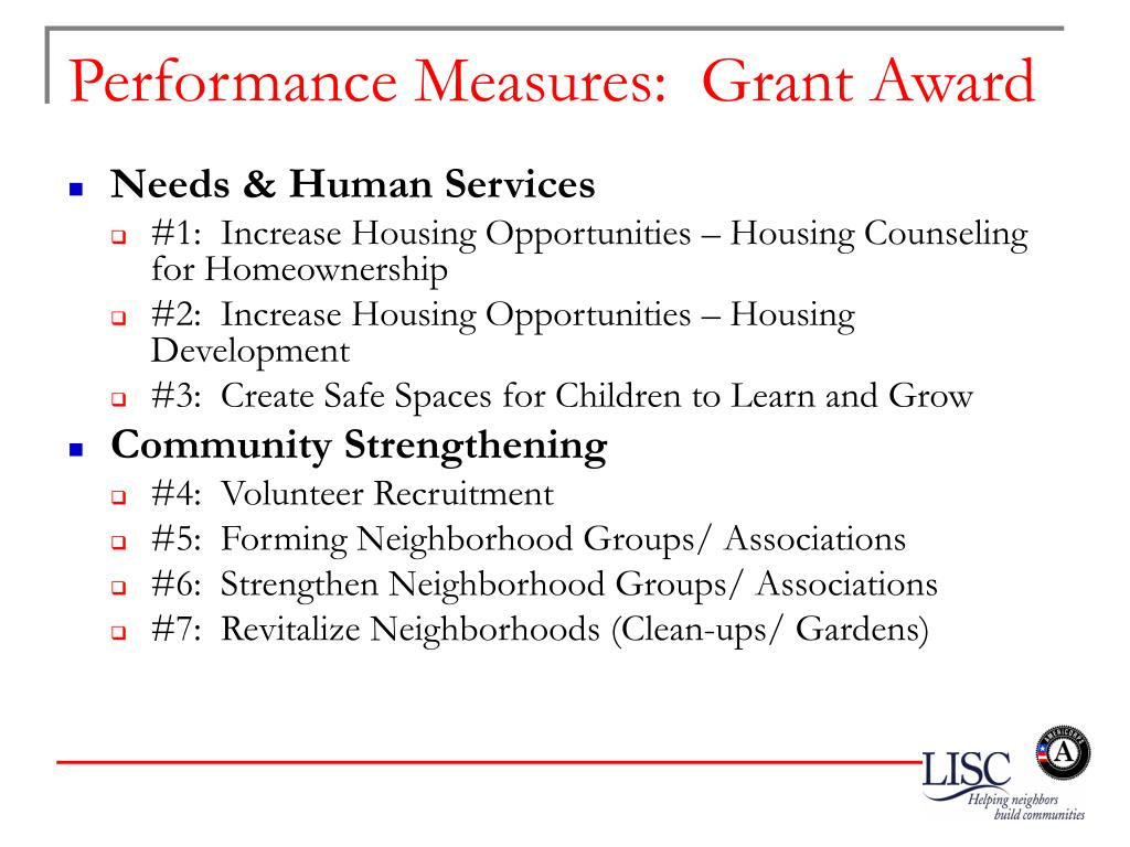 Performance Measures:  Grant Award