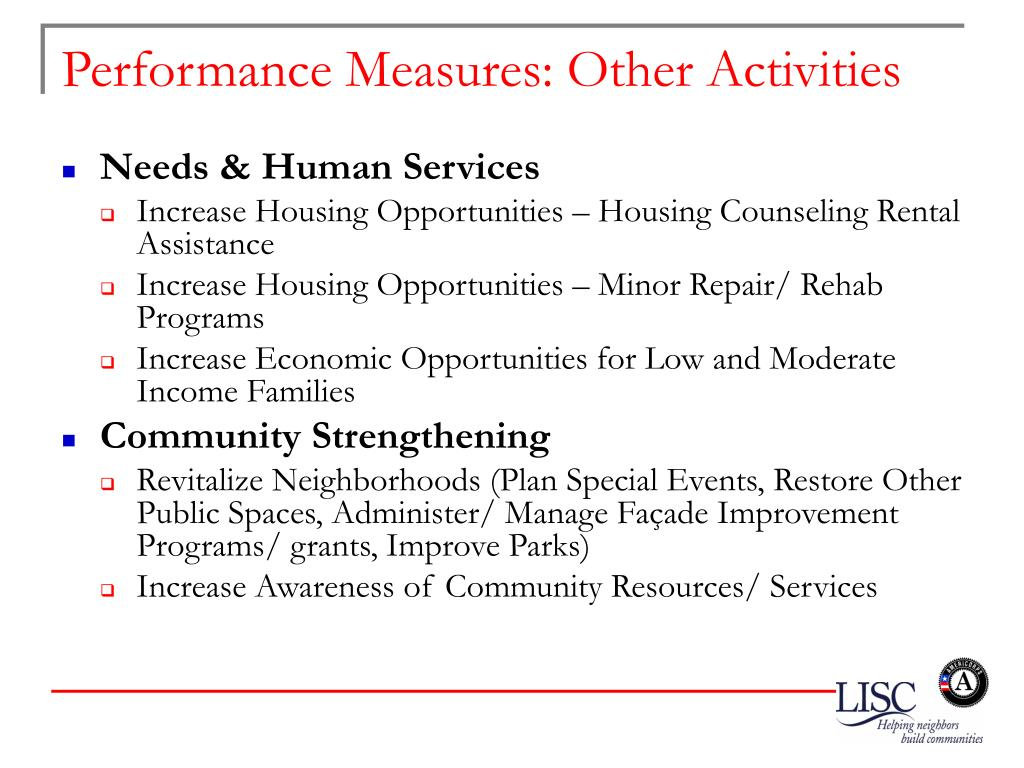Performance Measures: Other Activities