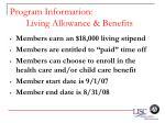 program information living allowance benefits53
