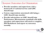 session outcomes for orientation