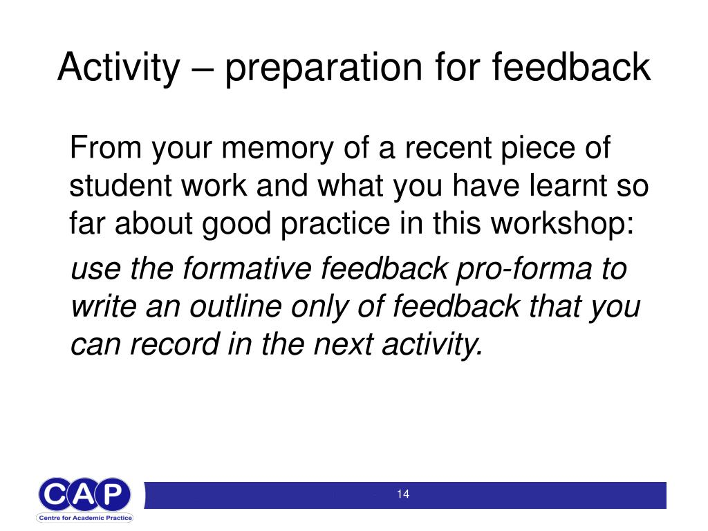 Activity – preparation for feedback