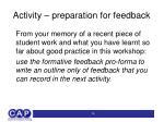 activity preparation for feedback
