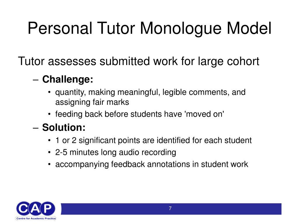 Personal Tutor Monologue Model