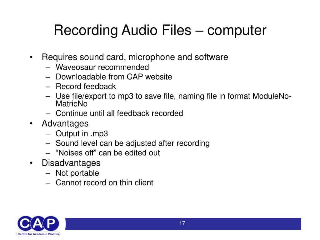 Recording Audio Files – computer