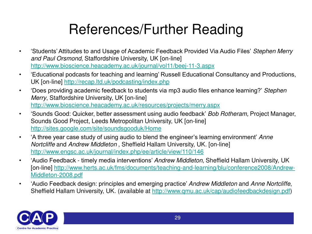 References/Further Reading