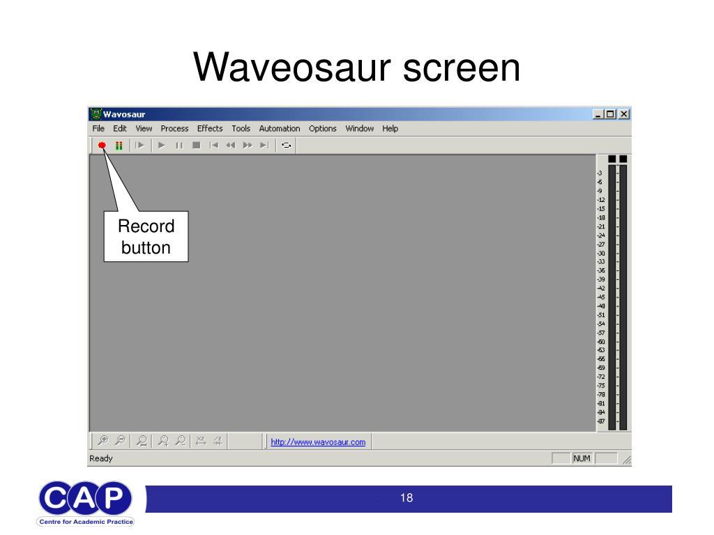 Waveosaur screen