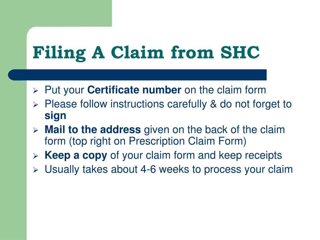 Filing A Claim from SHC