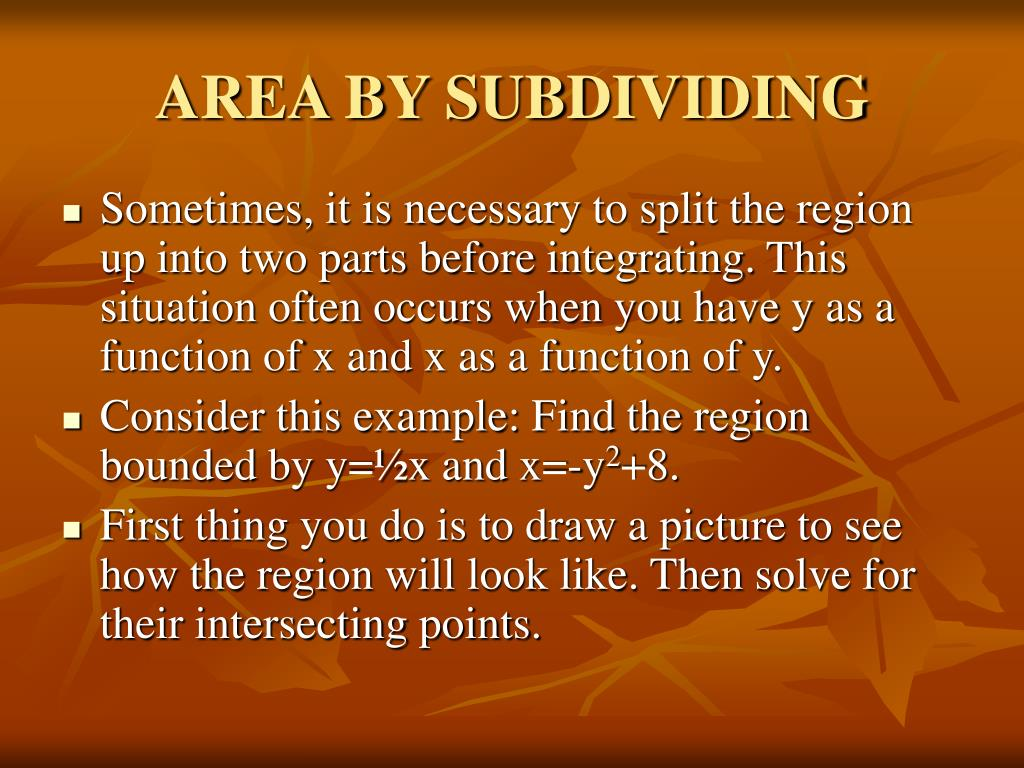 AREA BY SUBDIVIDING