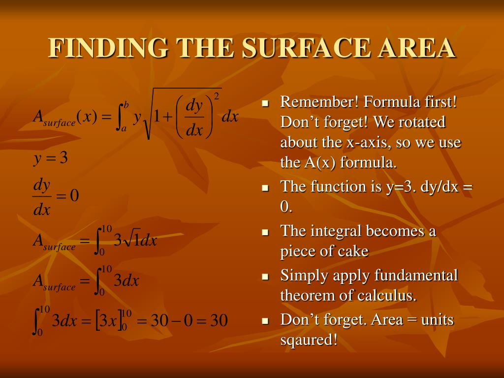 FINDING THE SURFACE AREA