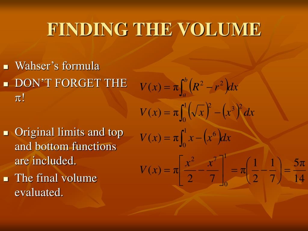 FINDING THE VOLUME