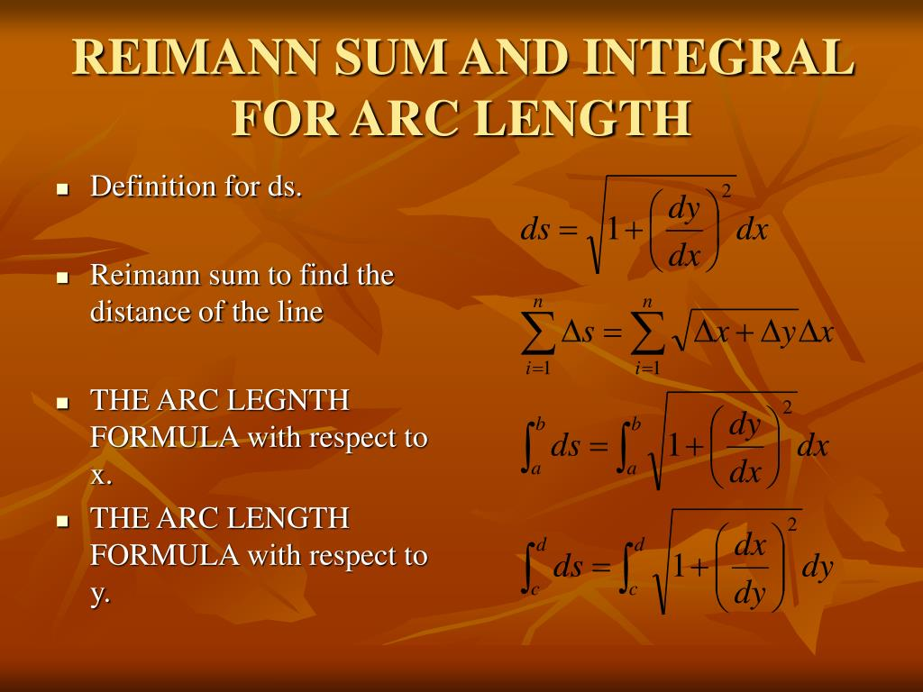 REIMANN SUM AND INTEGRAL FOR ARC LENGTH