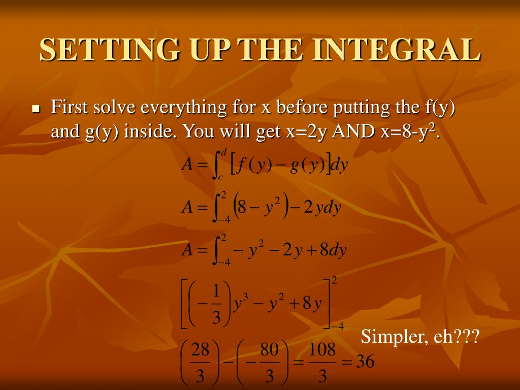 SETTING UP THE INTEGRAL