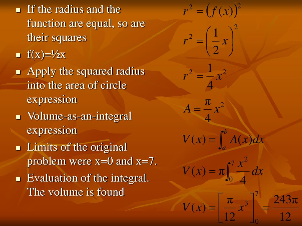 If the radius and the function are equal, so are their squares