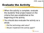 evaluate the activity