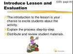 introduce lesson and evaluation