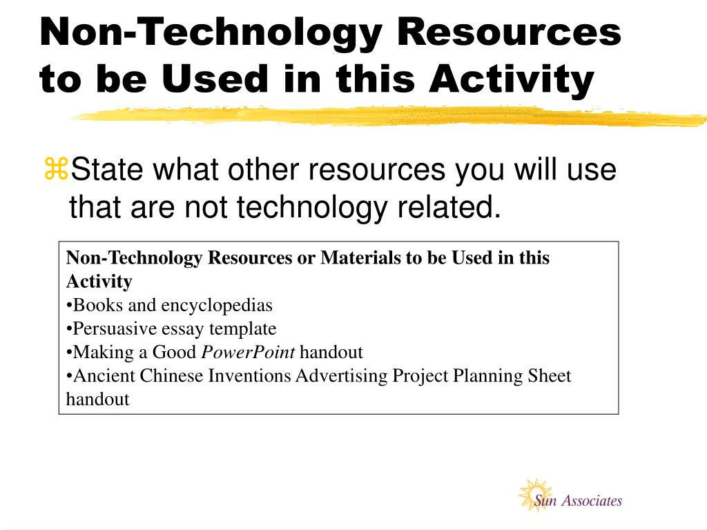 Non-Technology Resources to be Used in this Activity