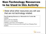 non technology resources to be used in this activity