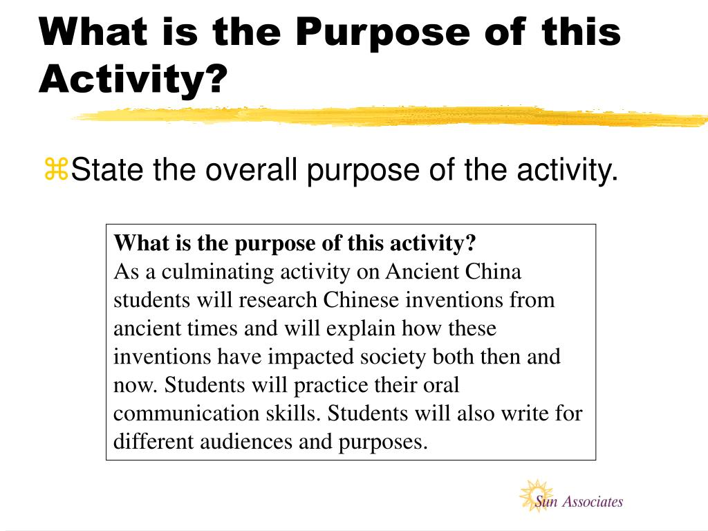 What is the Purpose of this Activity?