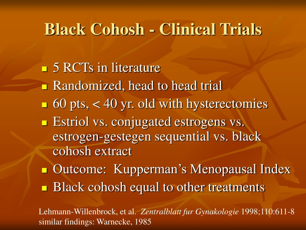 Black Cohosh - Clinical Trials
