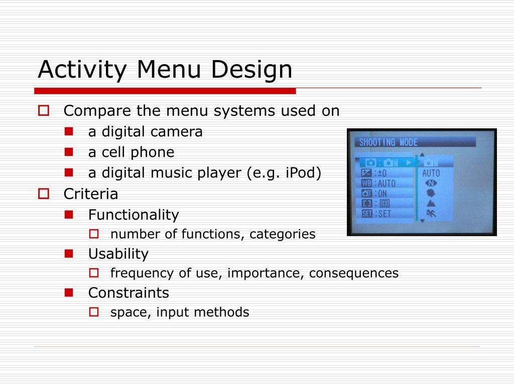 Activity Menu Design