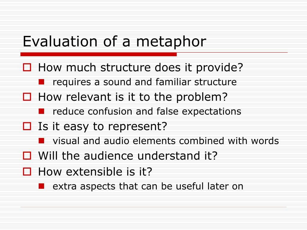 Evaluation of a metaphor