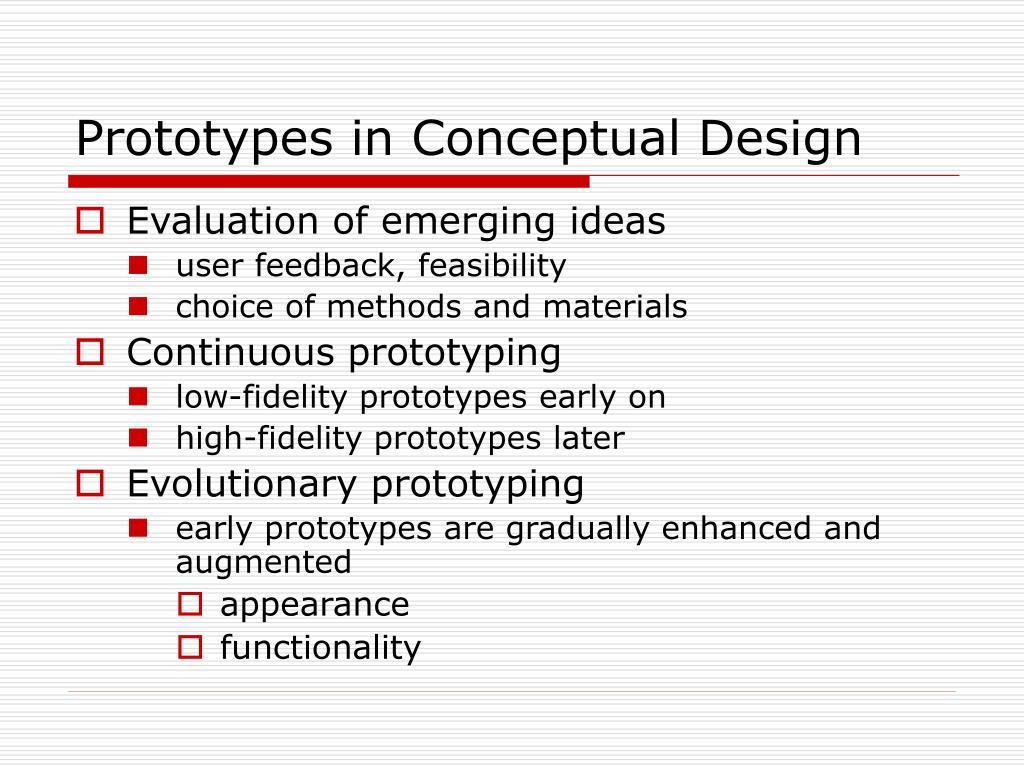 Prototypes in Conceptual Design