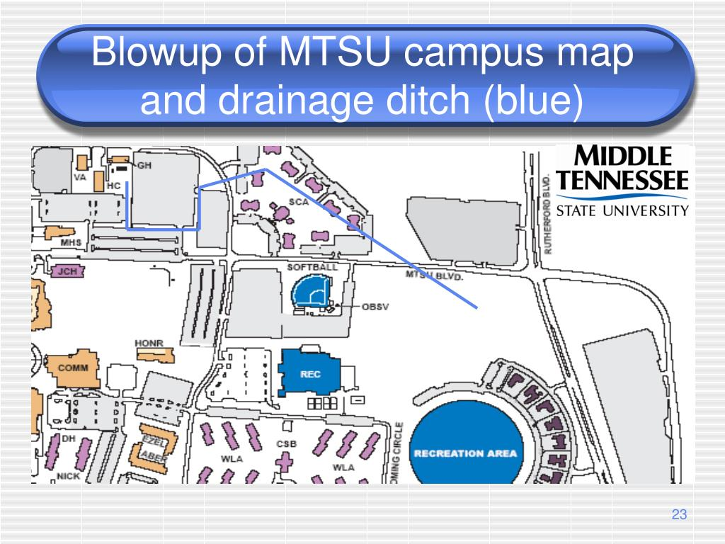Blowup of MTSU campus map and drainage ditch (blue)