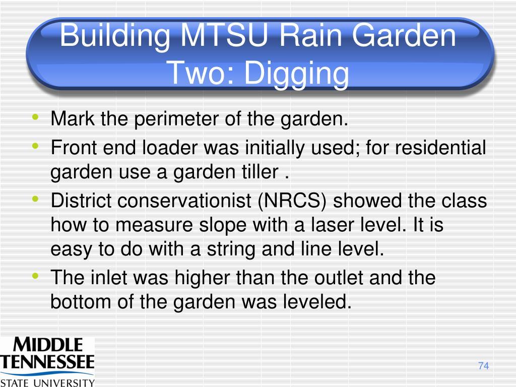 Building MTSU Rain Garden Two: Digging