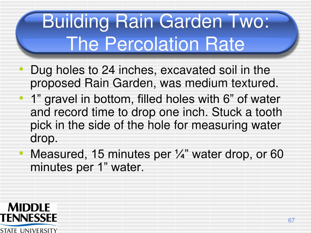 Building Rain Garden Two:  The Percolation Rate
