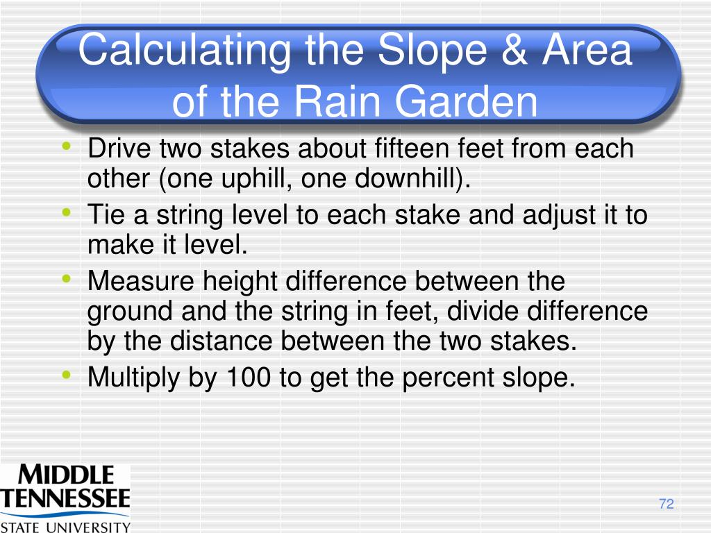 Calculating the Slope & Area of the Rain Garden