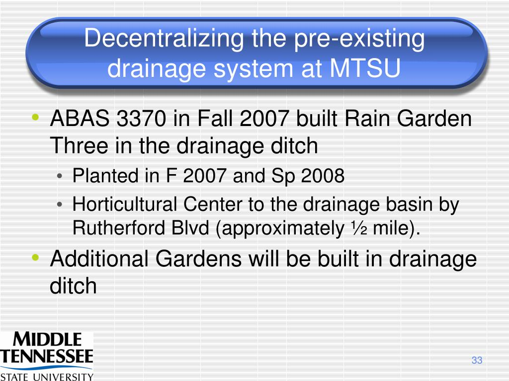 Decentralizing the pre-existing drainage system at MTSU