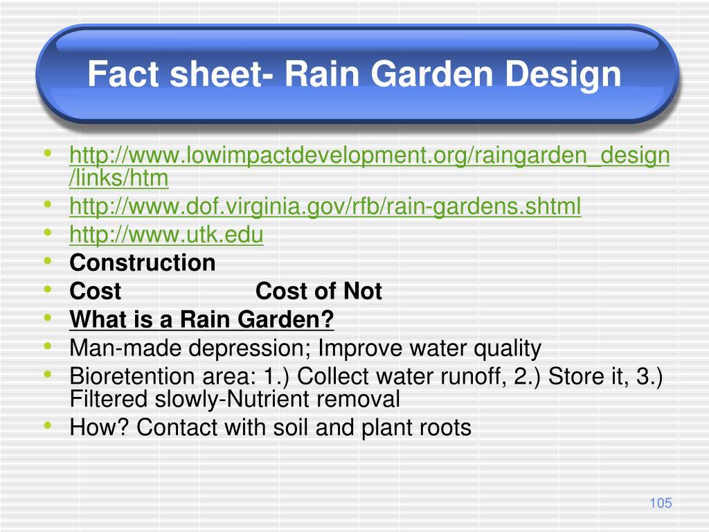Fact sheet- Rain Garden Design