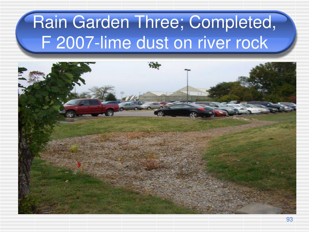 Rain Garden Three; Completed, F 2007-lime dust on river rock