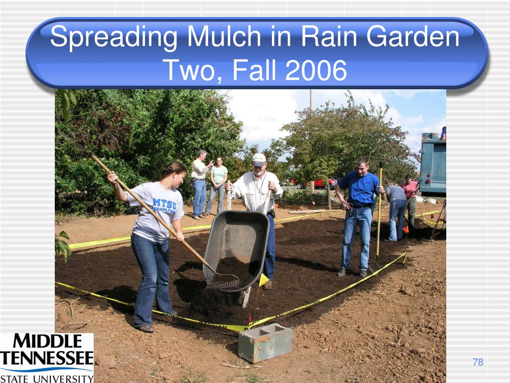 Spreading Mulch in Rain Garden Two, Fall 2006