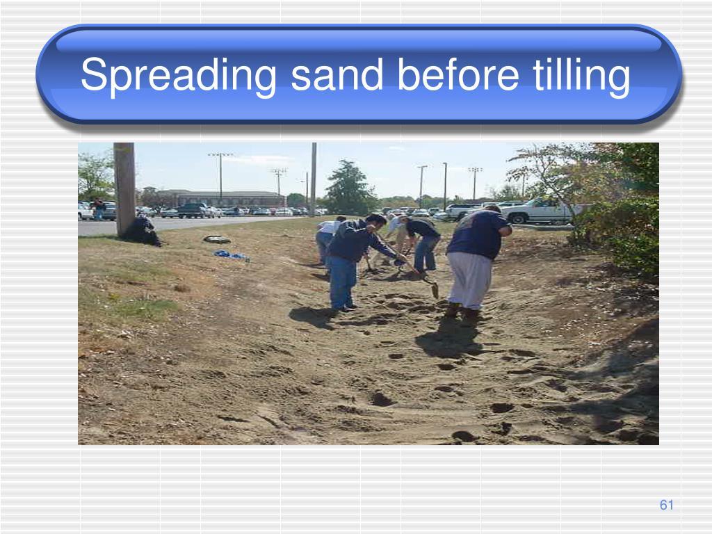 Spreading sand before tilling