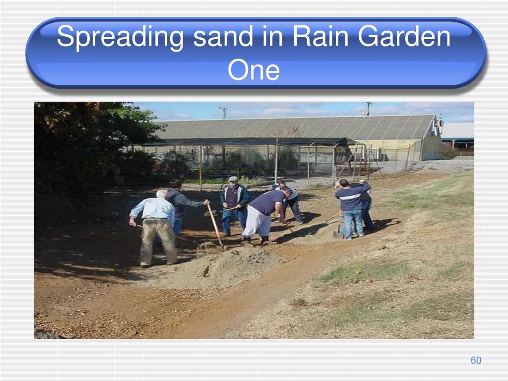 Spreading sand in Rain Garden One