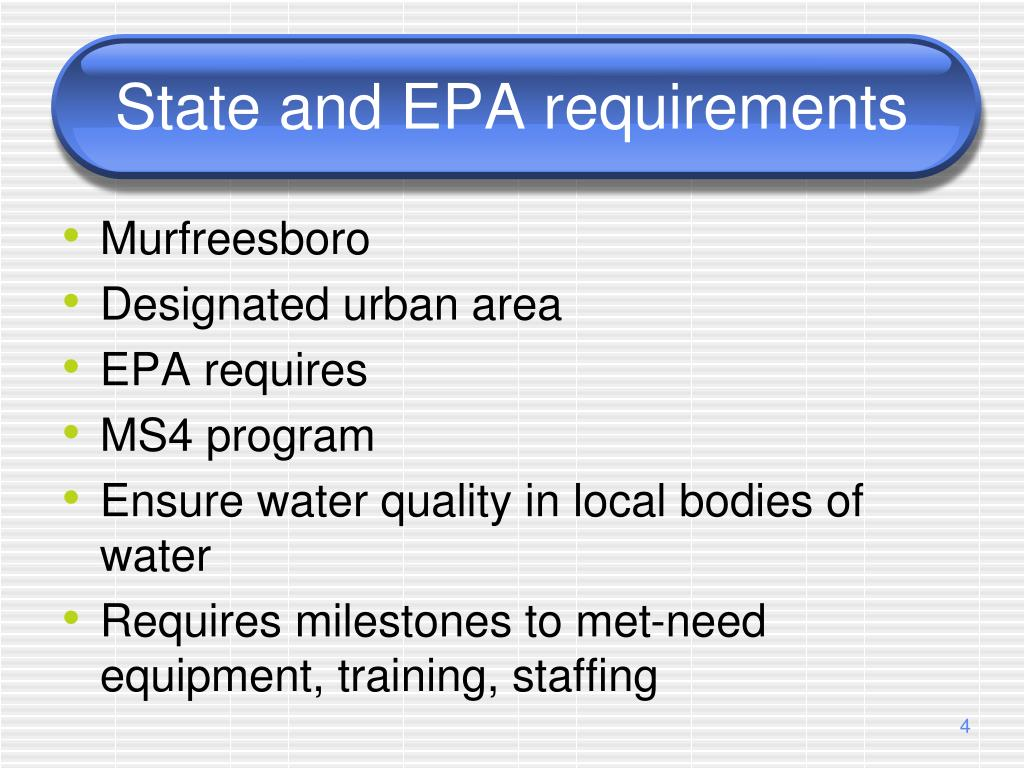 State and EPA requirements