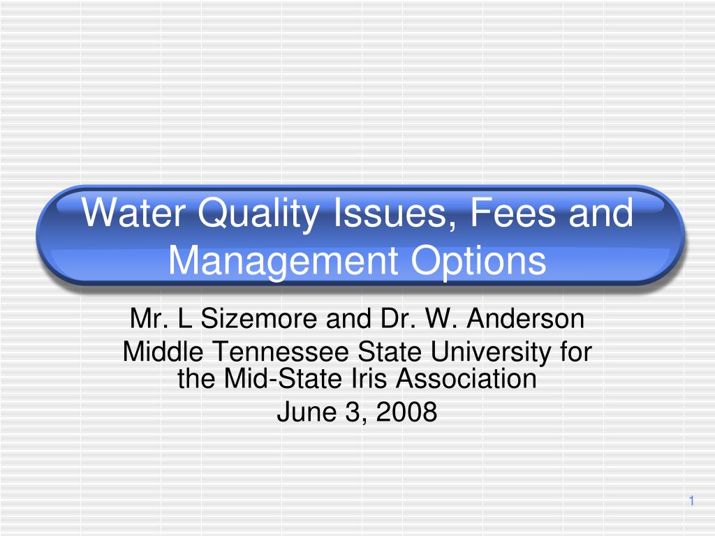 water quality issues fees and management options