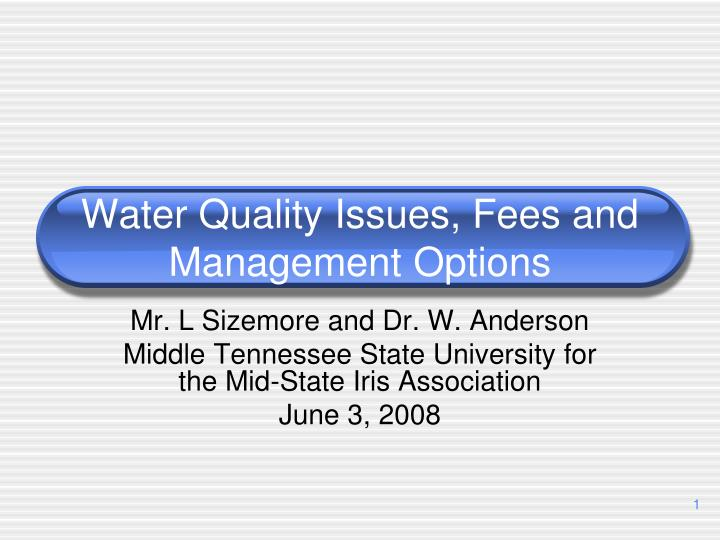Water quality issues fees and management options l.jpg