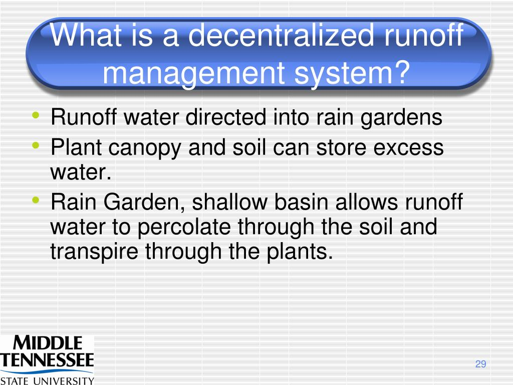 What is a decentralized runoff management system?