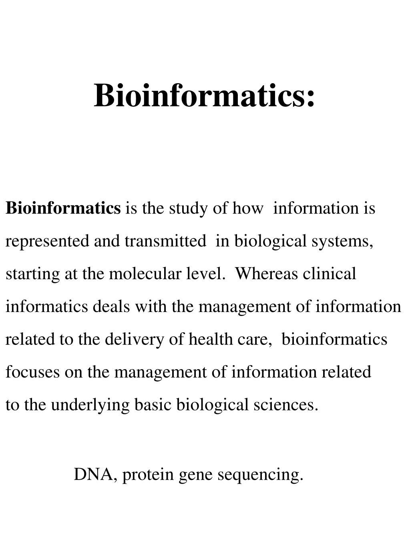 Bioinformatics: