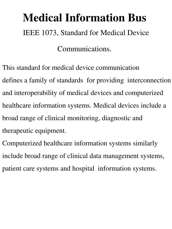 Medical Information Bus