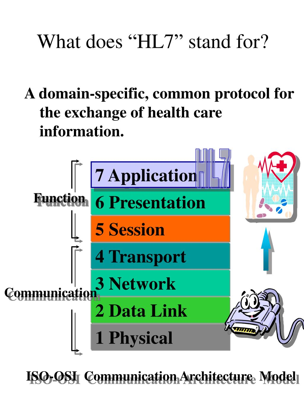 A domain-specific, common protocol for the exchange of health care information.