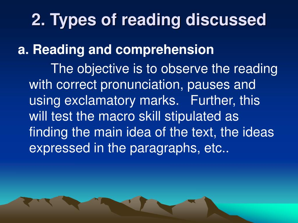 2. Types of reading discussed