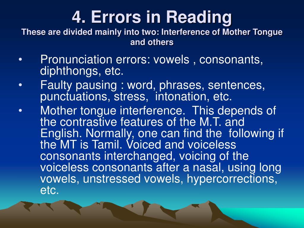 4. Errors in Reading