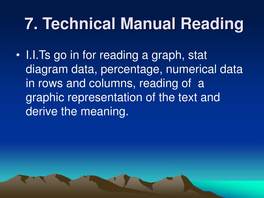 7. Technical Manual Reading