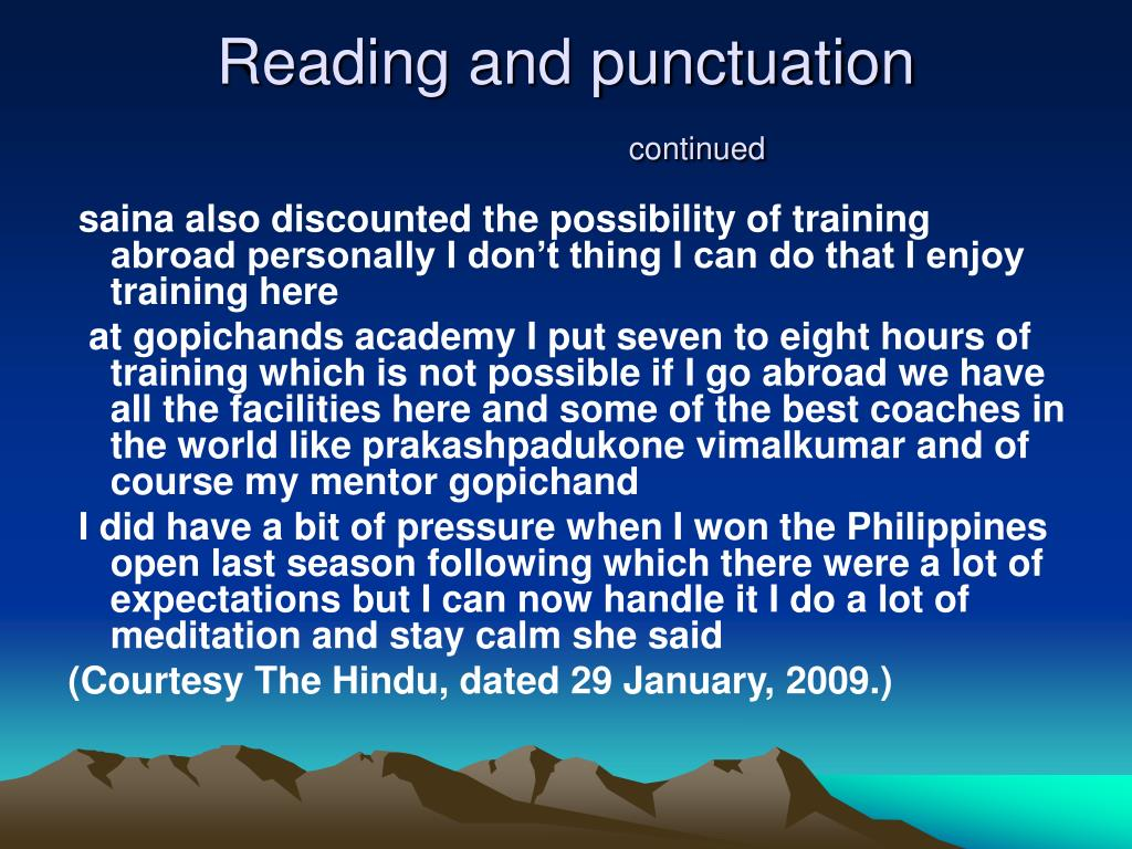 Reading and punctuation
